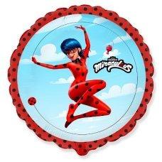 Фольгированный шар (18''/46 см) Круг, Прыжок Леди Баг, Красный