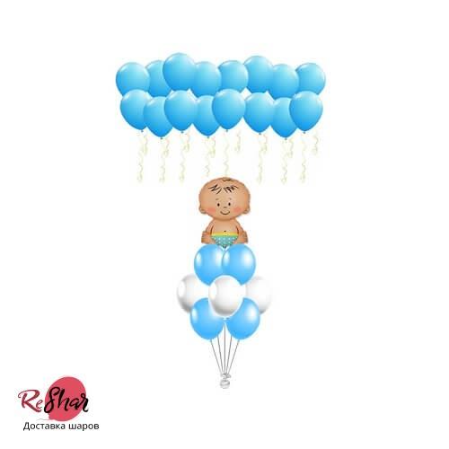 Композиция из  шаров «На выписку из роддома для мальчика S» №191