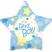 Фольгированная звезда «Baby Boy» желто голубой (46см.)
