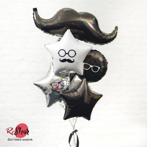 Композиция из воздушных шаров «Усатая Барбершоп фотосессия» №105