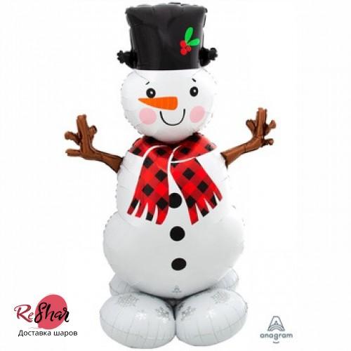 Воздушный шар Снеговик 157см, новый год, ходячка