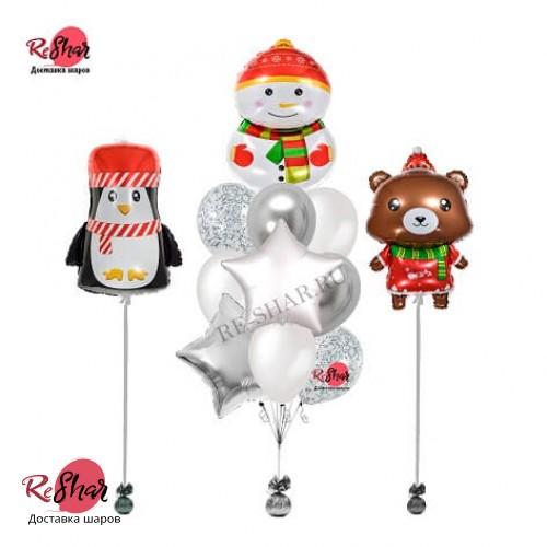 Композиция из воздушных шаров с гелием новый год Снеговик и друзья №2027