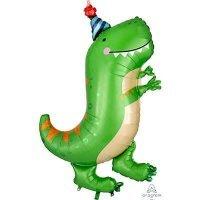 Воздушный шарик с гелием фигура Динозавр зеленый 86см