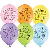 Воздушные шары с гелием котики с клубочками, ассорти 36см