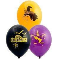 Воздушные шары с гелием Единорог Happy Halloween хэллоуин, 36см