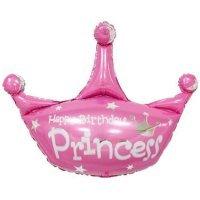 Фольгированный шар (37''/94 см) Фигура, Корона, С Днем Рождения, Принцесса, Розовый