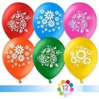 Воздушные шары с гелием с рисунком «Ассорти с цветами»
