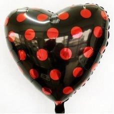 Фольгированный шар Сердце Красный горох на чёрном (Леди Баг) 46см