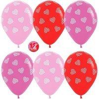 Воздушные шары с гелием с рисунком «Ассорти с полосатыми сердцами»