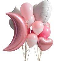 Композиция из воздушных шаров «Розовый полумесяц для девочки» №131