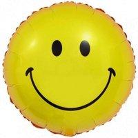 Круг из фольги «Смайлик с улыбкой Жёлтый» (46см.)