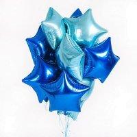 Облако из фольгированных шаров сине голубые 12 шт