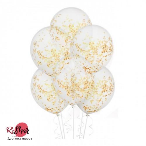 Шар с конфетти золотыми блестками, 30 см №13