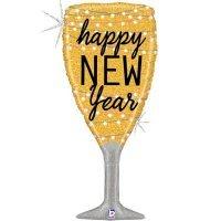 Шарик с гелием фигура Бокал игристого шампанского, новый год 94см