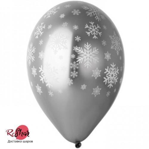 Воздушные шары с гелием на новый год, снежинки хром, серебро 35см