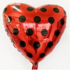 Фольгированный шар Сердце Чёрный Горох на красном (Леди Баг) 46см