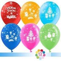 Воздушные шары с гелием с рисунком «Новогоднее ассорти»