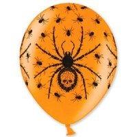 Воздушные шары с гелием Паук на оранжевом, хэллоуин 36см