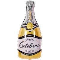 Фольгированный шар (39''/99 см) Фигура, Бутылка Шампанское, Золото