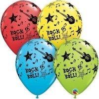 Воздушные шары с гелием с надписью Rock and Roll, гитара 30см