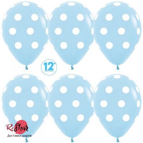 Воздушные шары с гелием с рисунком «Белый горох на голубом»