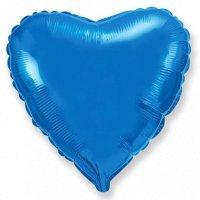 Фольгированный шар сердце «Синий» (46см.)