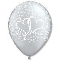 Воздушные шары с гелием узоры с сердцами на свадьбу или юбилей 30см