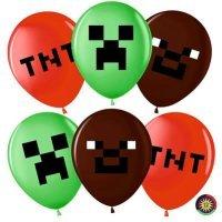 Воздушные шары с гелием Майнкрафт ассорти 30см