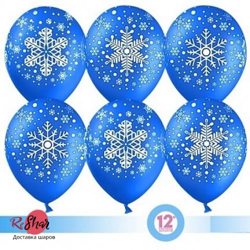 Воздушные шары с гелием с рисунком «Снежинки на синем»