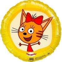 Шар фигура круг, Три кота, Жёлтый, Карамелька, 46см