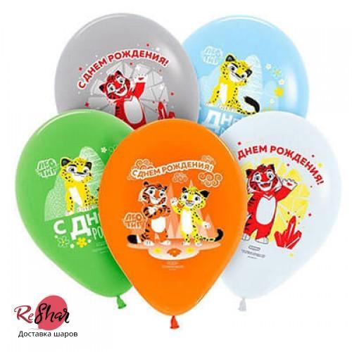 Воздушные шарики с гелием Лео и Тиг с Днём Рождения, 30см