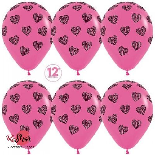 Воздушные шары с гелием с рисунком «Черные сердца на фиолетовом»