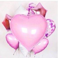 Композиция из воздушных шаров «Гигантское розовое сердце» №155