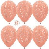 Воздушные шары с гелием с рисунком «Великолепные звёзды на розовом»