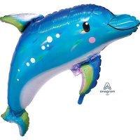 Воздушный шарик с гелием фигура голубой дельфин 73см