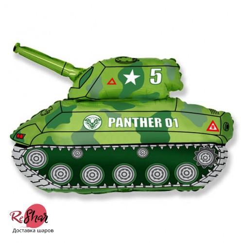 Фольгированная шар фигура «Танк защитник с 23 февраля» (79см.), камуфляж