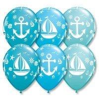 Воздушные шары с гелием для мальчика морские, парусник и якорь 30см