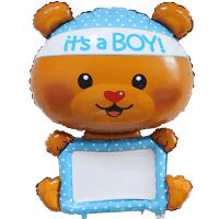 Фигура из Фольги «Мишка с табличкой + Маркер» для мальчика (117см.)