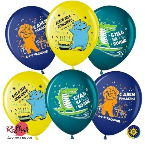 Воздушные шарики с гелием прикольные надписи, будь на волне с др 30см