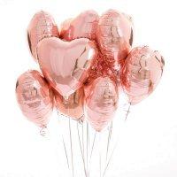 Композиция из воздушных шаров «Сердца розовое золото» 9 шт. №181