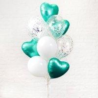 Композиция из шаров «Бирюзовые сердца» №106