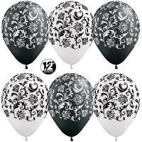 Воздушные шары с гелием с рисунком «Узоры» в чёрном и белом