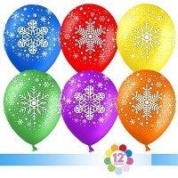 Воздушные шары с гелием с рисунком «Ассорти снежинок»