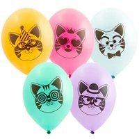 Латексные шары с рисунком котики , ассорти 36см