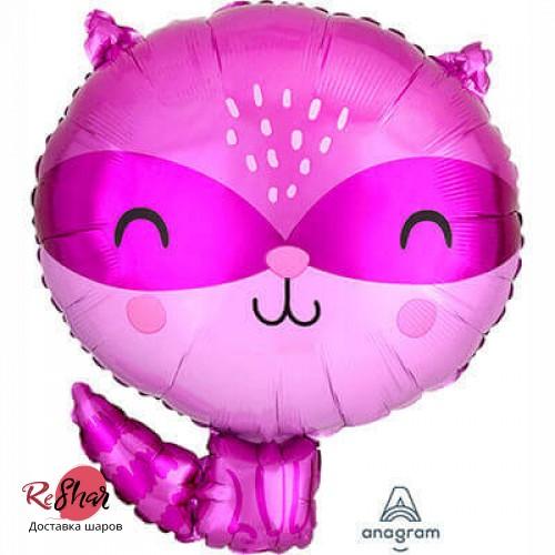 Воздушный шарик с гелием фигура Енот фиолетовый 50см