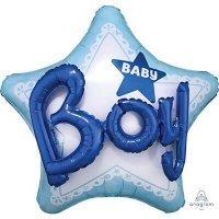 Воздушный шар с гелием фигура звезда на выписку мальчик 81см