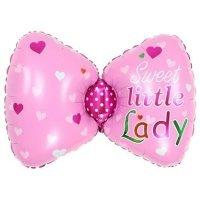 Фольгированный шар (29''/74 см) Фигура, Бантик для девочки, Розовый