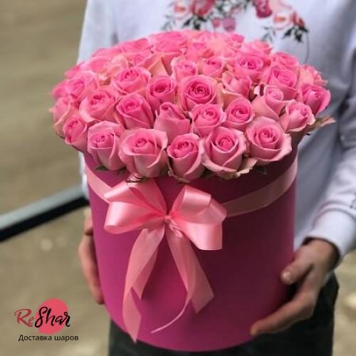 Цветы в фуше коробке, Ревиваль роза 49шт, №92