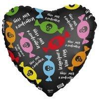 Фольгированный шар (19''/48 см) Сердце, Ты моя конфетка, Черный
