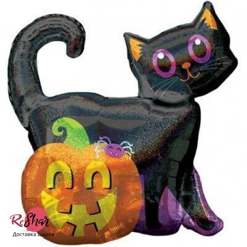 Воздушный шар с гелием фигура, чёрный кот с тыквой, хэллоуин 71см